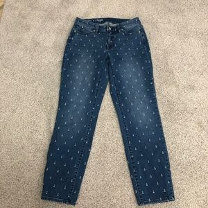 Talbots Slim Ankle Curvy Anchor Print Jeans